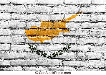 drapeau chypre, peint, sur, mur brique