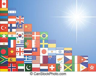 drapeau, ciel, sur, fond, icônes
