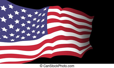 drapeau commémoratif, américain, animation, vidéo, fond,...