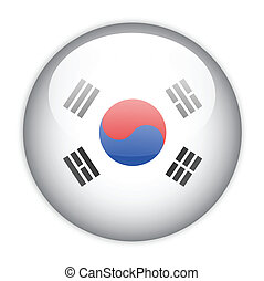 drapeau, corée, bouton, sud