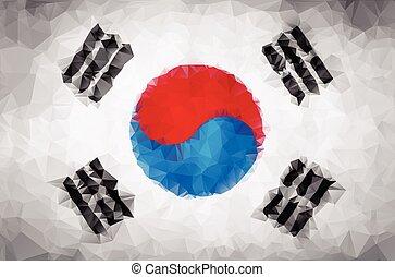 drapeau coréen, sud, polygone