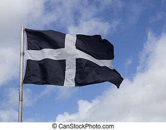 Cornouailles, drapeau. Sud, angleterre, ouest, comté, drapeau.