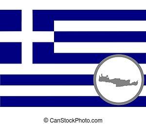 drapeau, crète, carte