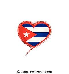 drapeau cuba, illustration, vecteur, fond, blanc
