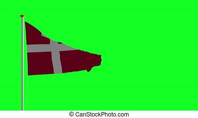 drapeau danemark, vert, écran