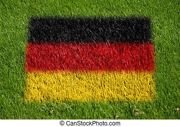 drapeau, de, allemagne, sur, herbe
