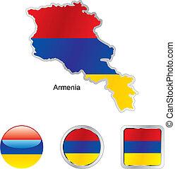 drapeau, de, arménie, dans, carte, et, internet, boutons, forme