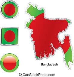drapeau, de, bangladesh, dans, carte, et, internet, boutons, forme