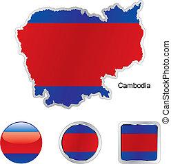 drapeau, de, cambodge, dans, carte, et, internet, boutons, forme