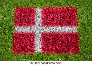drapeau, de, danemark, sur, herbe
