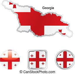 drapeau, de, géorgie, dans, carte, et, internet, boutons, forme