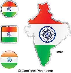 drapeau, de, inde, dans, carte, et, internet, boutons, forme