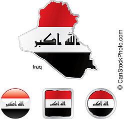 drapeau, de, irak, dans, carte, et, internet, boutons, forme