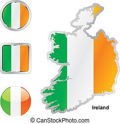 drapeau, de, irlande, dans, carte, et, toile, boutons,...