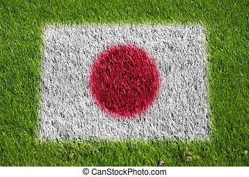 drapeau, de, japon, sur, herbe