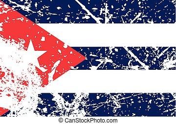 drapeau, decayted, illustration, cuba