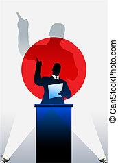 drapeau, derrière, politique, podium, orateur, japon