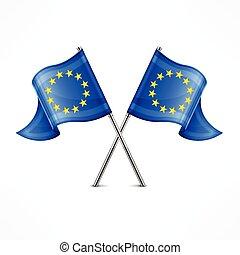 drapeau, deux, européen