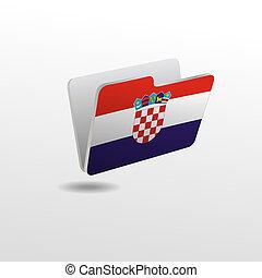 drapeau, dossier, image, croatie