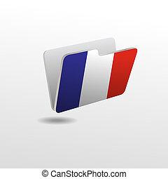 drapeau, dossier, image, france