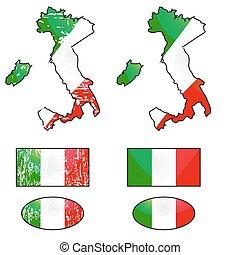 drapeau, ensemble, italie