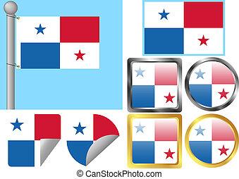 drapeau, ensemble, panama