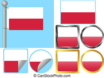 drapeau, ensemble, pologne