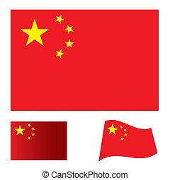 drapeau, ensemble, porcelaine