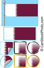 drapeau, ensemble, qatar