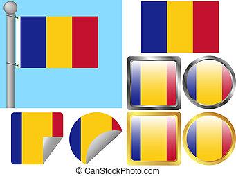 drapeau, ensemble, roumanie