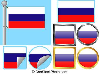 drapeau, ensemble, russie