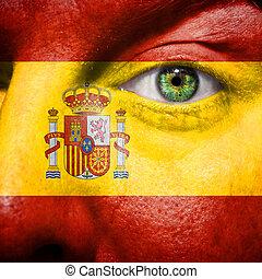 drapeau espagnol, peint, sur, équipe, figure