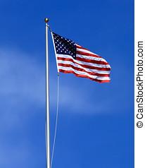 drapeau etats-unis, et, fléchir poteau