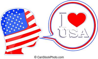 drapeau etats-unis, homme, à, parole, bulles, -, je, amour, usa