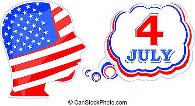 drapeau etats-unis, homme, à, parole, bulles, -, jour indépendance