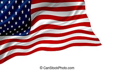 drapeau etats-unis, isolé, américain, fond, blanc, ou