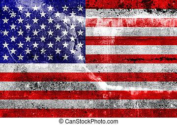 drapeau etats-unis, peint, sur, grunge, mur