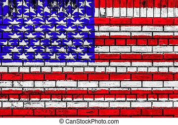 drapeau etats-unis, sur, mur brique
