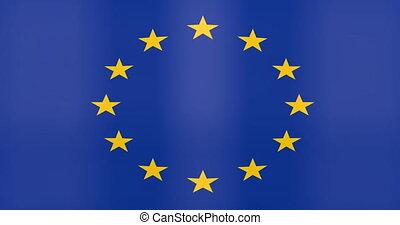 drapeau, euro, fond, zone, faire boucle, onduler