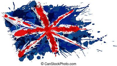 drapeau, fait, argentine, eclabousse, coloré