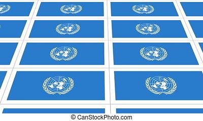 drapeau, fait boucle, cartes postales, nations unies