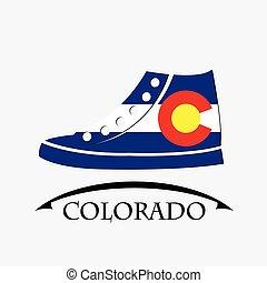 drapeau, fait, chaussures, icône, colorado