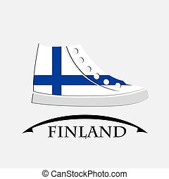 drapeau, fait, chaussures, icône, finlande
