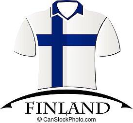 drapeau, fait, chemises, icône, finlande