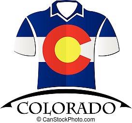 drapeau, fait, colorado, icône, chemises