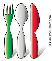 drapeau, fait, coutellerie, italien