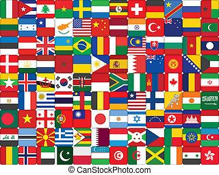 drapeau, fait, fond, icônes