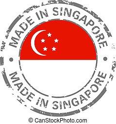 drapeau, fait, grunge, icône, singapour