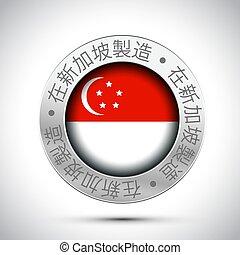 drapeau, fait, métal, icône, singapour