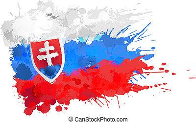 drapeau, fait, slovaquie, eclabousse, coloré